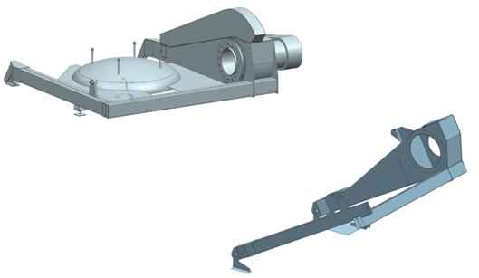 Model CAD konstrukcji pokrywy pieca węglowego oraz uproszczony model wyidealizowany