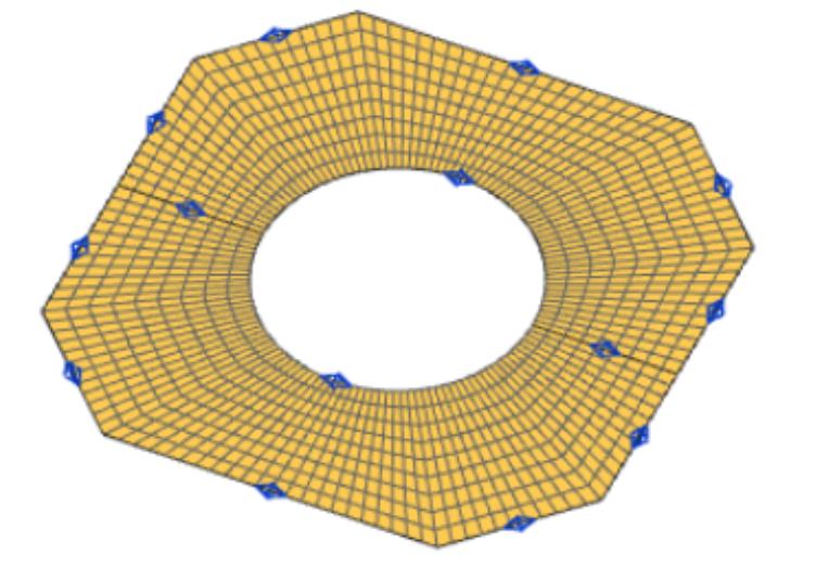 Model CAD i siatki obliczeniowej płyty satelity (Honeycomb Deck)