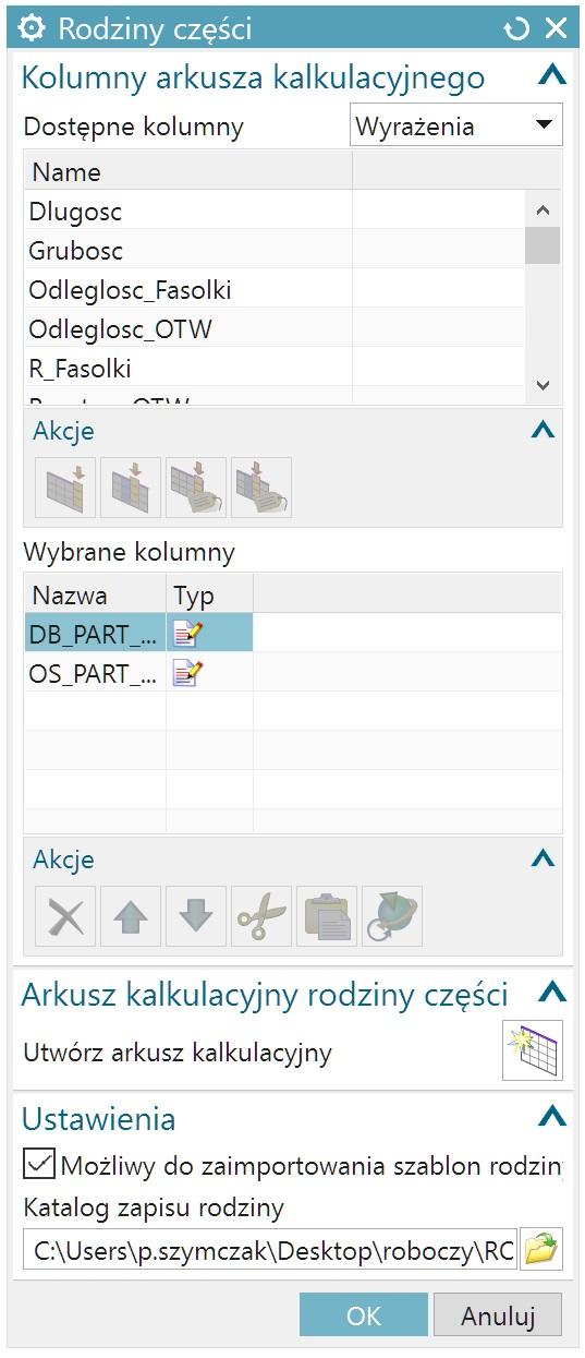 Okno Rodziny części w NX CAD