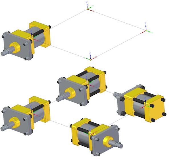 Powielanie komponentów z wykorzystaniem układów współrzędnych