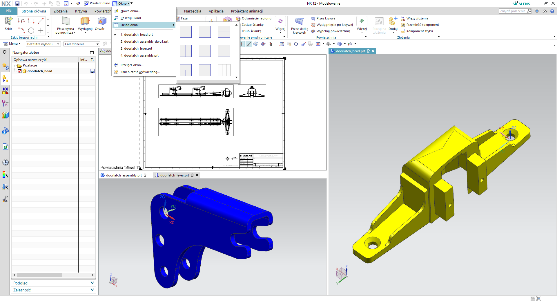 Praca na wielu plikach jednocześnie w NX 12 CAD