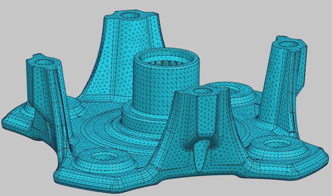 Siatka obliczeniowa przed wprowadzeniem zmian geometrycznych w Simcenter 3D