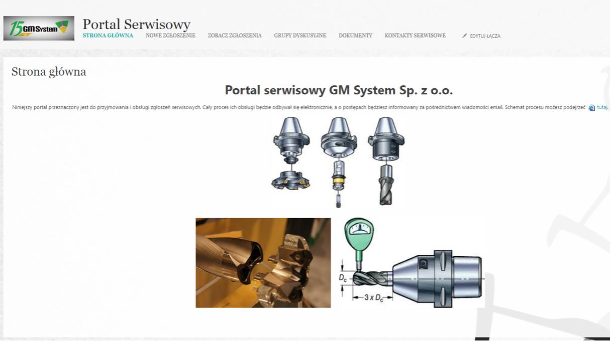 System Portal Serwisowy GM System, strona główna