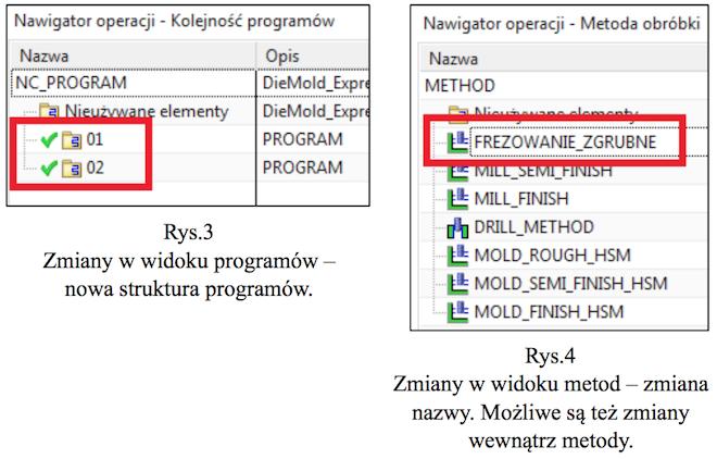 Zmiany w widoku programów, zmiany w widoku metod