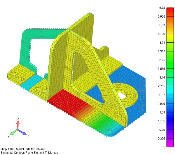 Mapa konturu grubości wyświetlona na siatce 2D