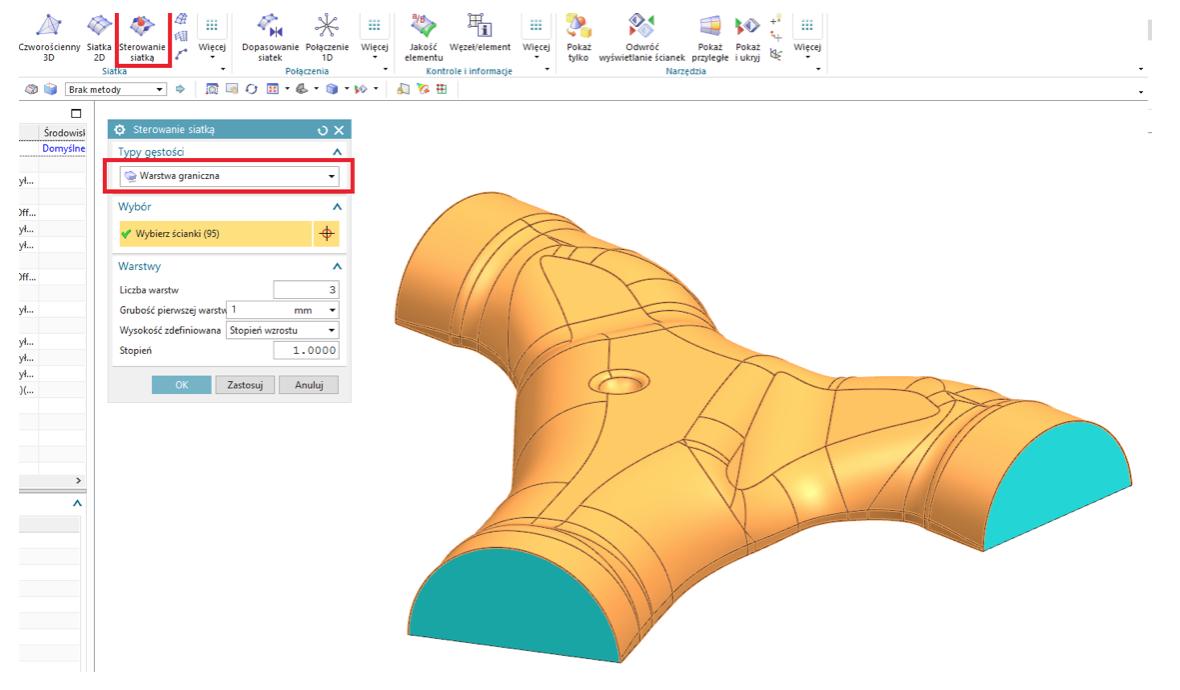 Definiowanie warstwy przyściennej na wybranych ściankach geometrii w Simcenter 3D