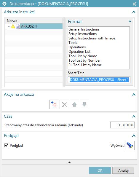 Dokumentacja procesu w NX CAM