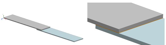 Dwie płytki połączone warstwą kleju - Simcenter 3D