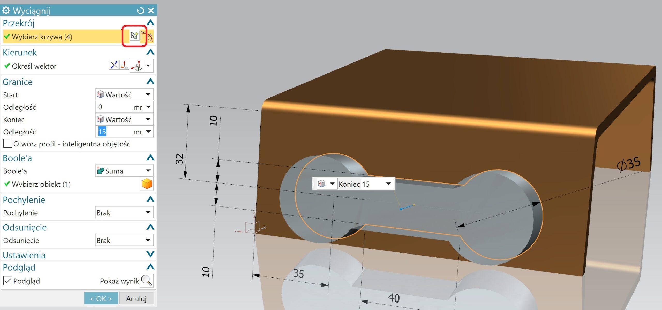 Edycja operacji bazowej w NX CAD