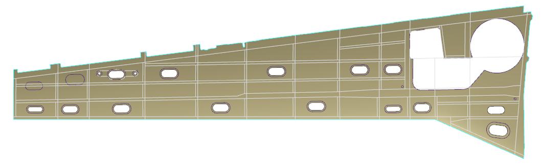 Model CAD poszycia skrzydła samolotu
