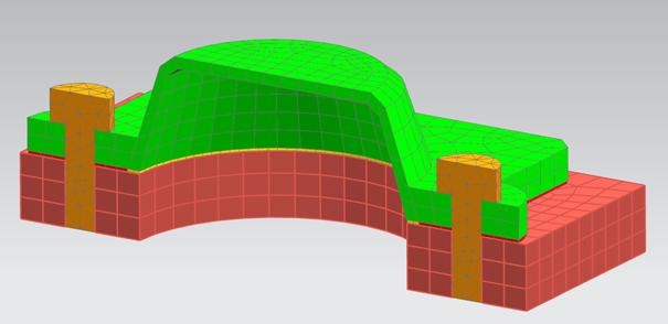 Model przedstawiający uszczelkę pomiędzy elementami ściskającymi ja za pomocą śrub