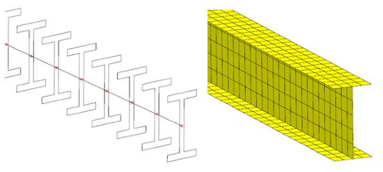 Model MES belki przy użyciu elementów 1D i 2D