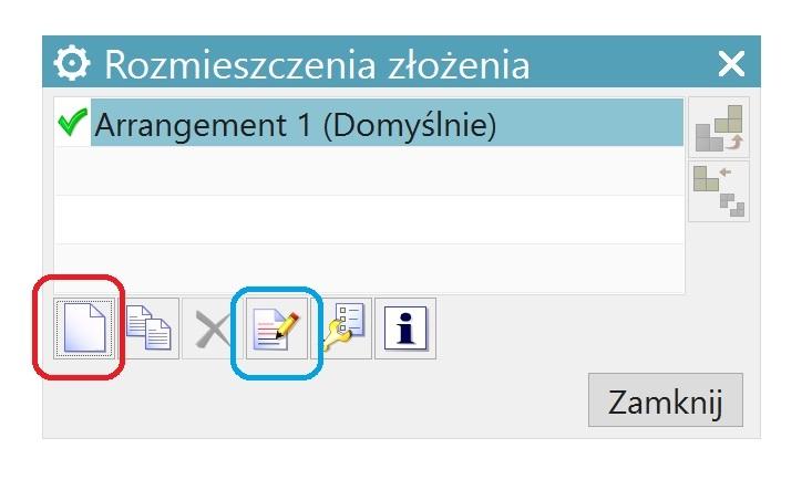 Okno rozmieszczenia złożenia w NX CAD