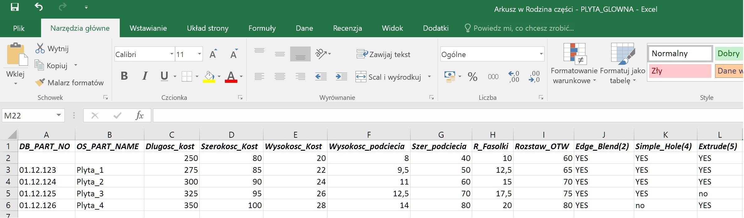 Rodziny części w NX CAD - Plik Excel z dodanym i zmiennymi