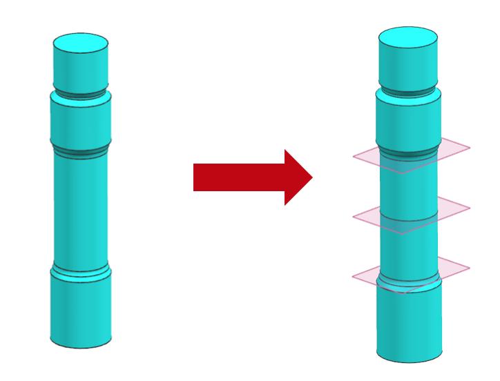 Podział śruby na cztery segmenty