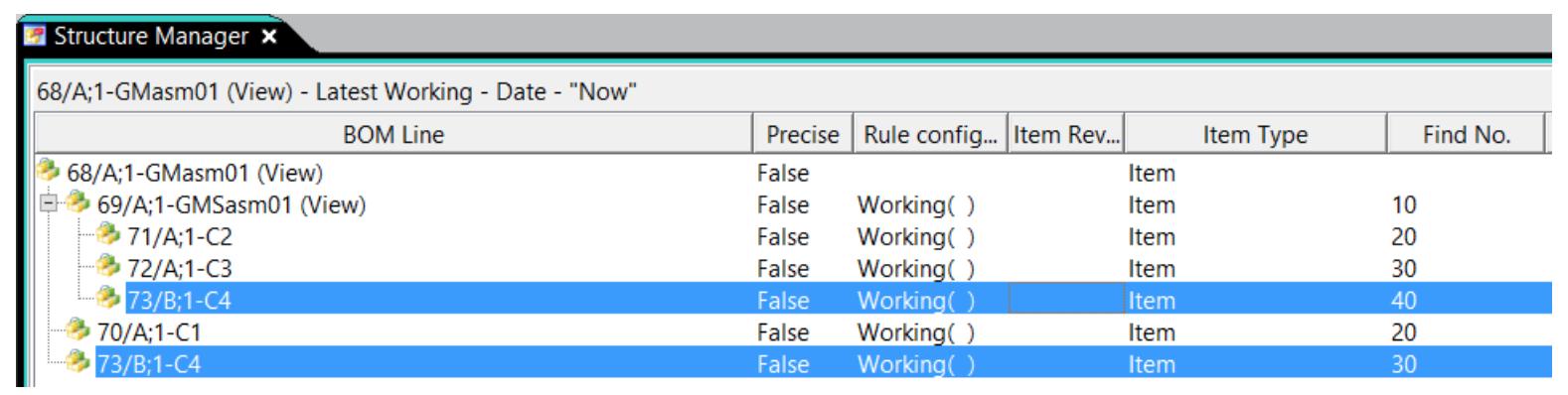 Widok przykładowego złożenia w Teamcenter