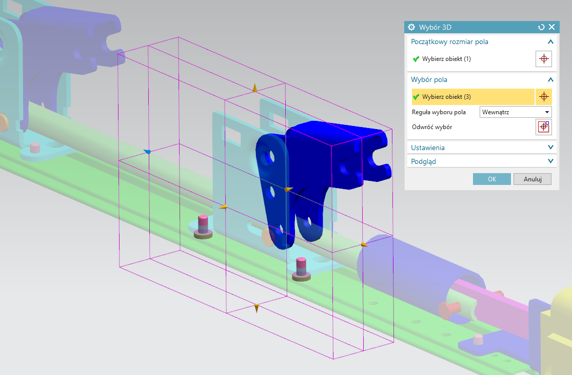 Zaznaczanie kostką 3D w NX 12 CAD
