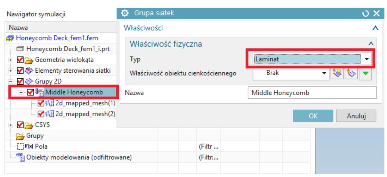 Zdefiniowanie typu elementu – Laminat na utworzonej grupie siatek.