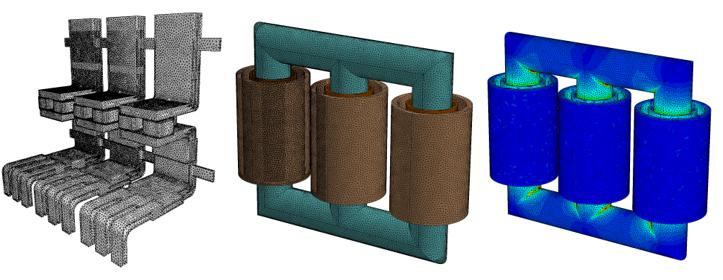 Siatka obliczeniowa dla solwera EM opartego o elementy czworościenne pierwszego i drugiego rzędu.