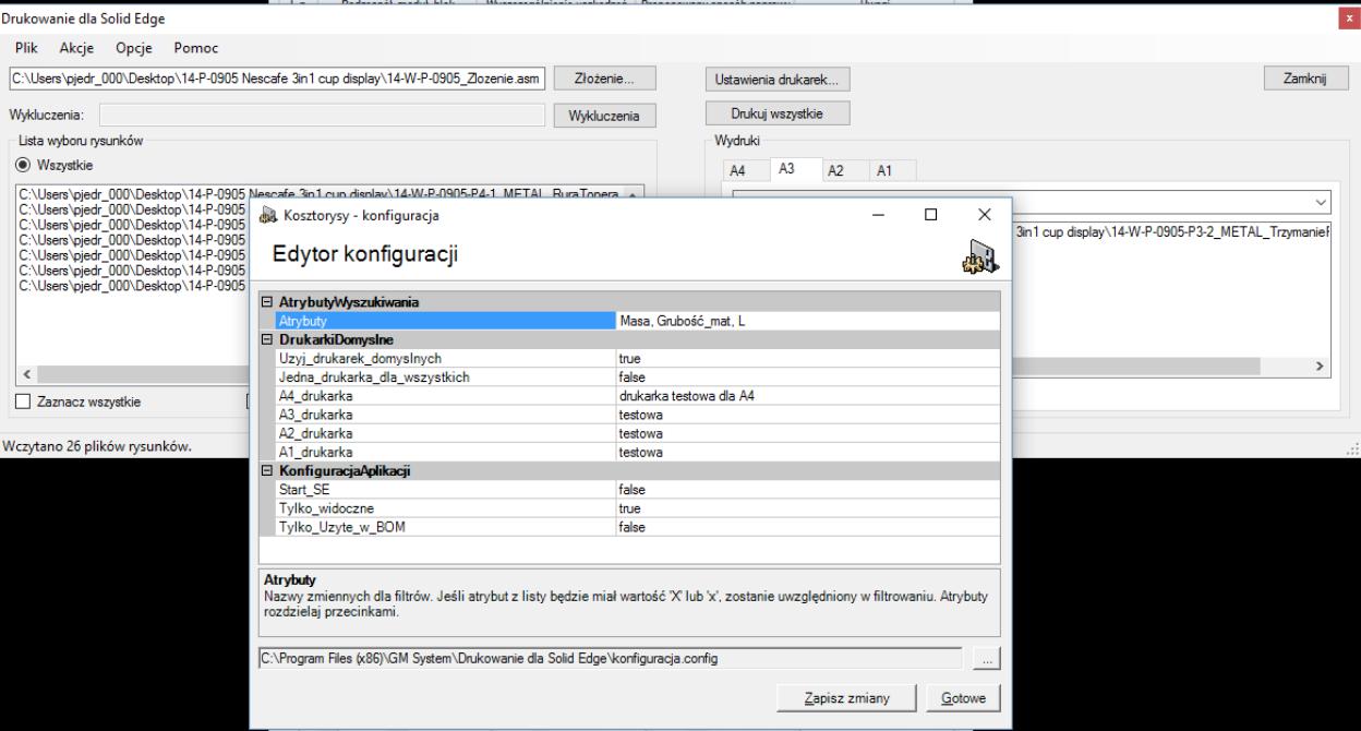 """Dodatek """"Drukowanie dla Solid Edge"""" - okno startowe i konfiguracji"""