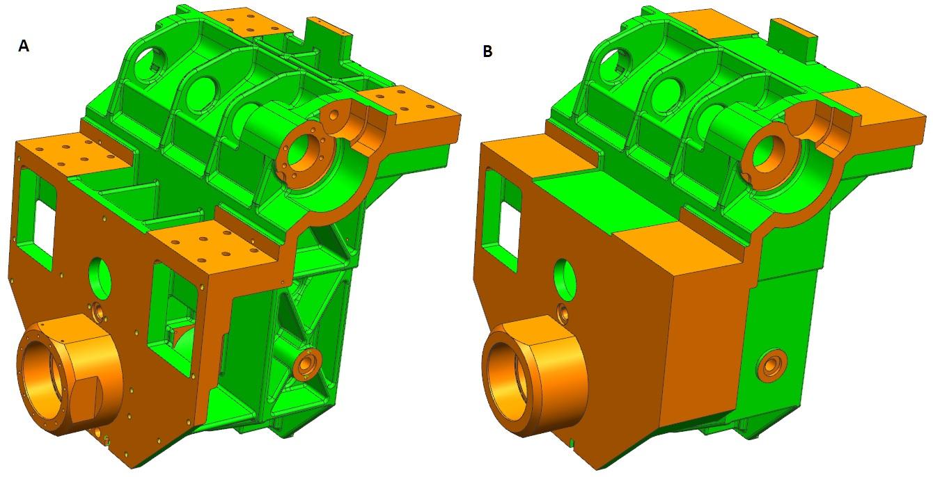 Model w NX CAD przed i po uproszczeniu