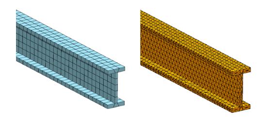 Model MES belki przy użyciu elementów 3D (czworościennych) i 3D (sześciościennych)