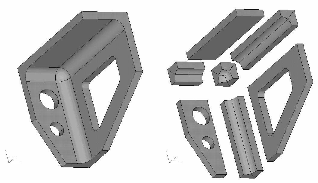 Przykład podziału geometrii przygotowanej do nałożenia siatki hexa