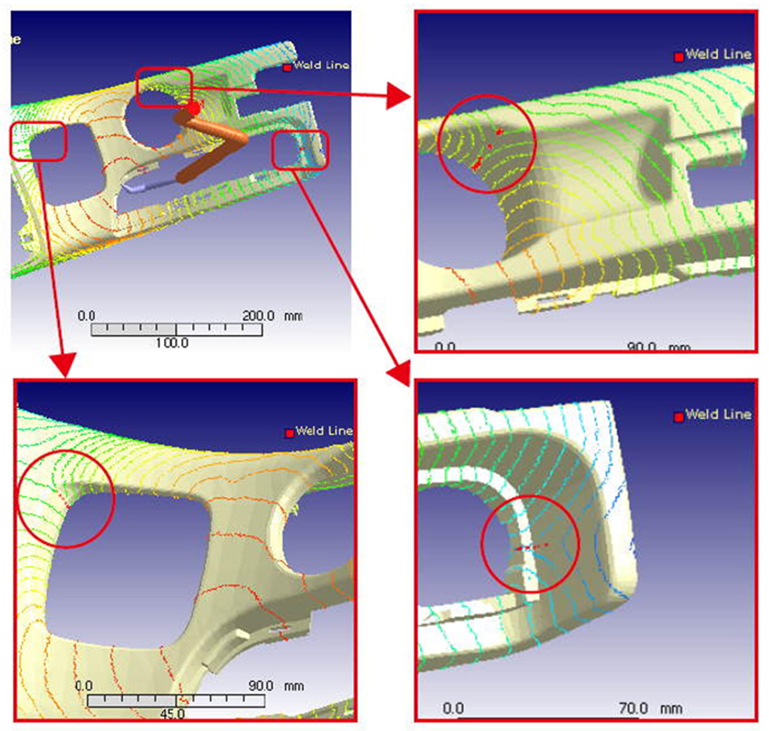 Wyniki symulacji ukazujące linie łączenia na widocznej powierzchni detalu