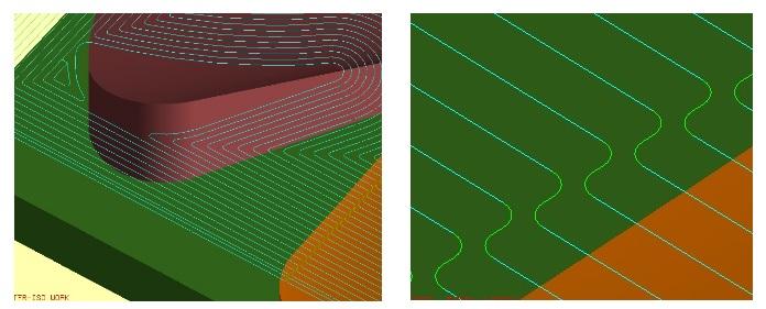 Przykład ścieżki wygenerowanej w NX CAM z zastosowaniem ustawień wygładzania naroży.