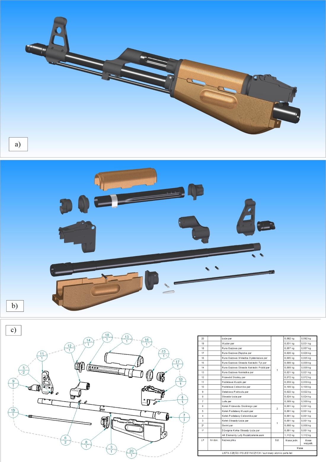 """Wybrane aspekty dokumentacji 3D/2D dla każdego z podzespołów broni, na przykładzie """"lufa komplet"""""""
