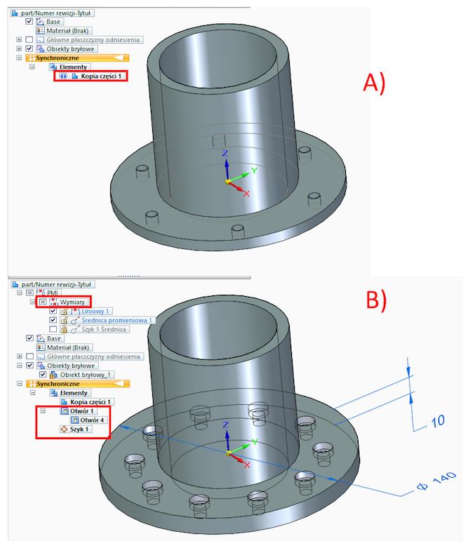 Edycja modelu części pochodzącego z systemu Inventor