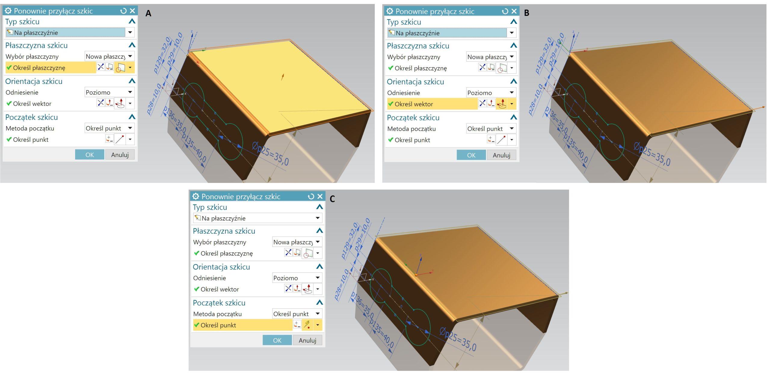 Kolejne kroki przenoszenia szkicu w NX CAD