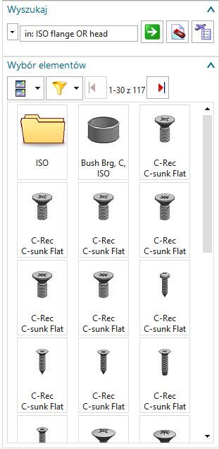 Przykładowe wyniki wyszukiwania - NX Reuse Library
