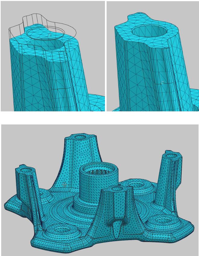 Zastosowanie narzędzia morfingu siatki i dostosowanie istniejącej siatki do zmian wykonanych na geometrii.