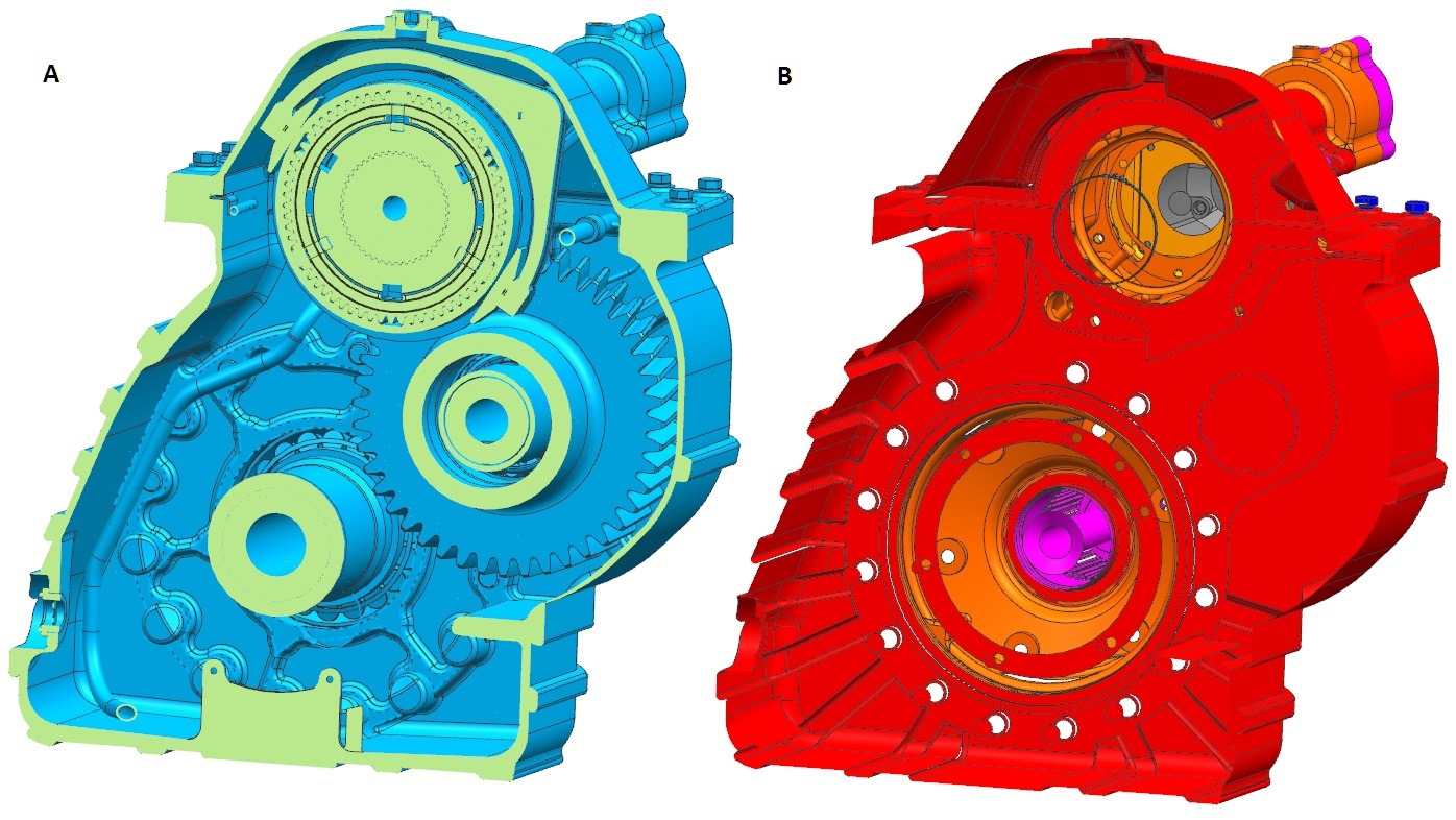 Model przed podlinkowaniem i po podlinkowaniu powierzchni do złożenia