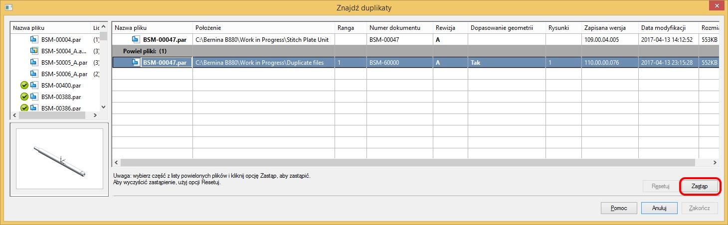 Okno dialogowe polecenia Znajdź duplikaty – widok znalezionego duplikatu z nowszą datą modyfikacji