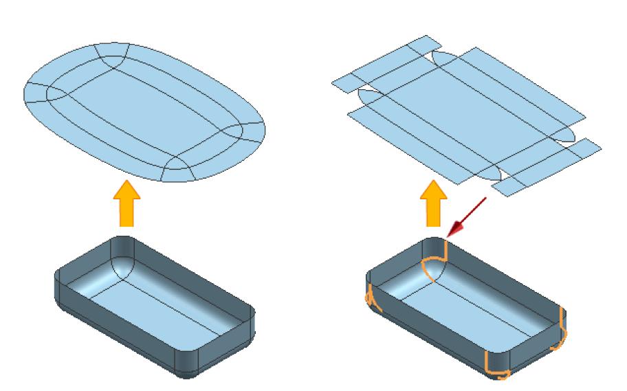 Opcja rozcięcia krawędzi rozwijanej powierzchni