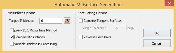Opcje automatycznego generowania powierzchni środkowych
