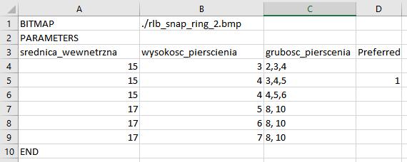 Plik arkusza kalkulacyjnego zawierający wartości kolejnych parametrów geometrii w NX