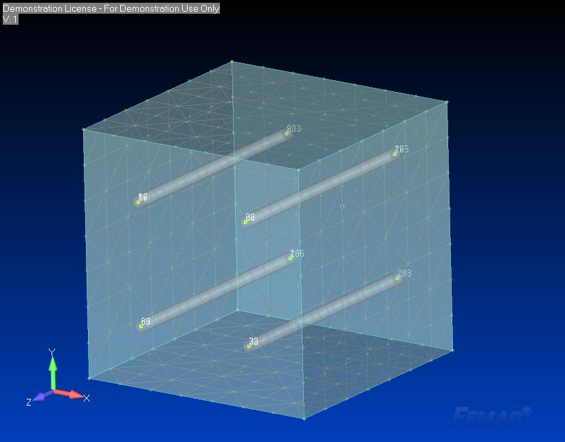Siatka bryłowa 3D z wewnętrznymi belkami 1D - Połączone węzły