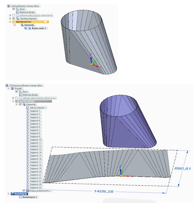 Rozwinięcie modelu części blaszanej pochodzącej z Inventor