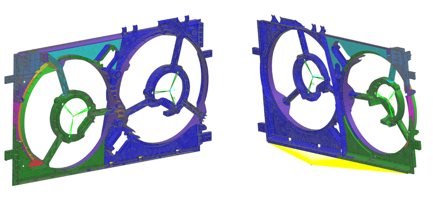 Siatka obliczeniowa zawierająca elementy powierzchniowe 2D, masowe 0D oraz 1D (RBE2)