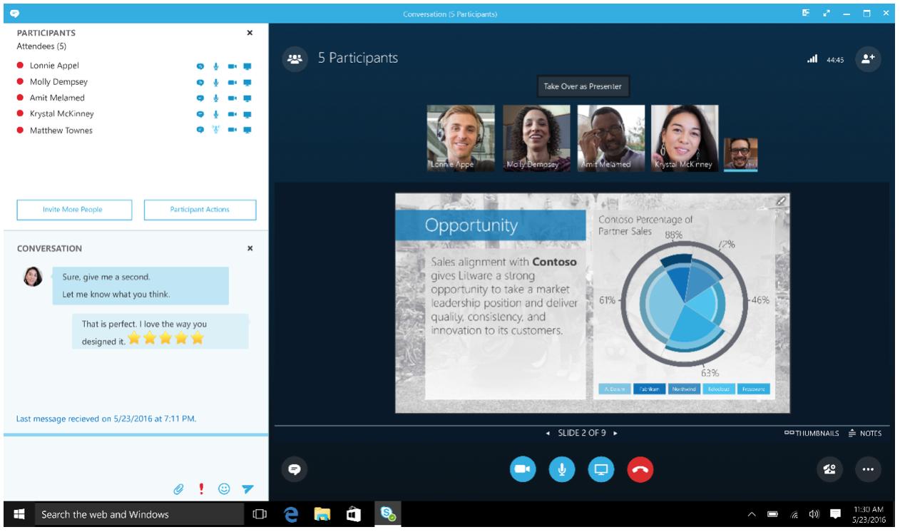 Skype for Business - widok telekonferencji połączonej z prezentacją