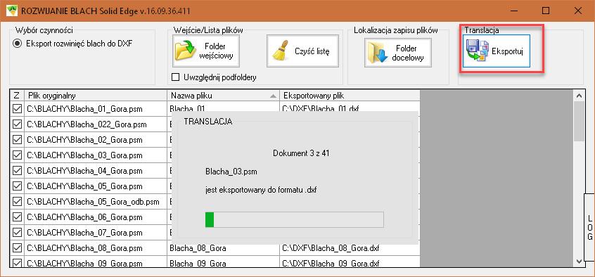 Translacja plików części blaszanych do formatu DXF
