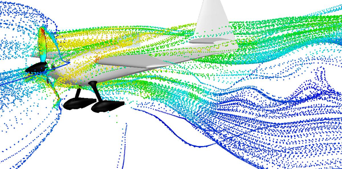 Rozkład graficzny prędkości w formie linii prądu przedstawione jako obiekty kuliste