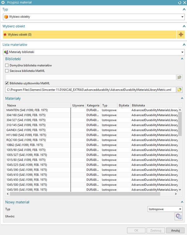 Biblioteka materiałów z zaimportowanymi danymi z pliku AdvancedDurabilityMaterialsLibraryMetric.xml