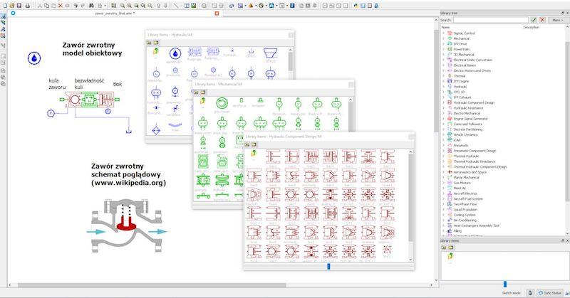 Model obiektowy zaworu zwrotnego w oprogramowaniu Simcenter 1D Simulation