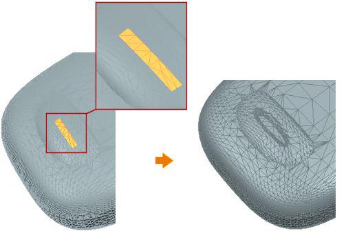 Zmiana kształtu obiektu STL poprzez lokalne odsunięcie ścianki w NX 12 CAD