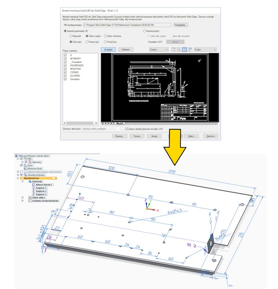 Część blaszana z automatycznie naniesionymi wymiarami, utworzona na bazie dokumentu DWG.