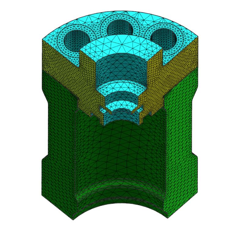Siatka objętościowa czworościenna 3D na obiektach pompy i kołnierza